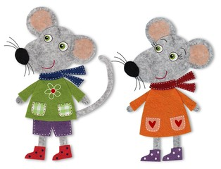 Mice cut out of felt and wool