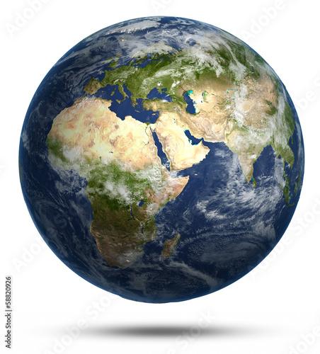 Leinwandbild Motiv Planet Earth white isolated