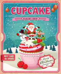 Vintage Christmas cupcake poster design with Santa Claus
