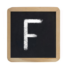 letter F on blackboard