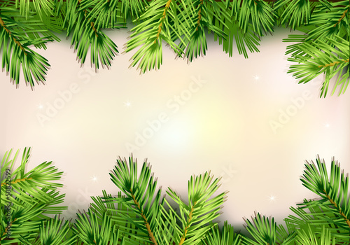 Christmas illustration with Christmas tree branch