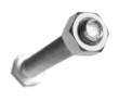 bolt and nut on white, selective focus