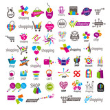 large collection of vector logos and shopping discounts basket