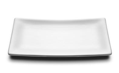 white rectangular plate isolated on white