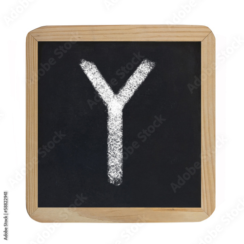 letter Y on blackboard
