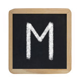letter M on blackboard