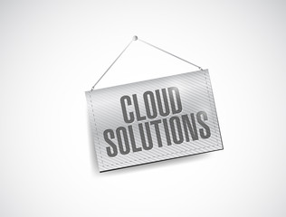 cloud solutions hanging banner illustration