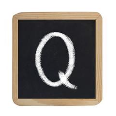 letter Q on blackboard