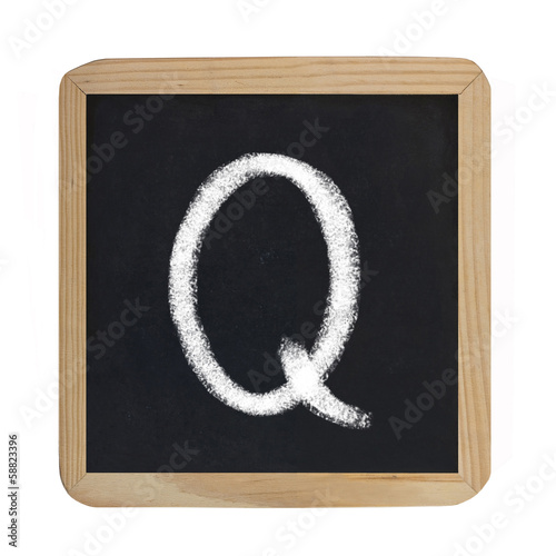 letter Q on blackboard