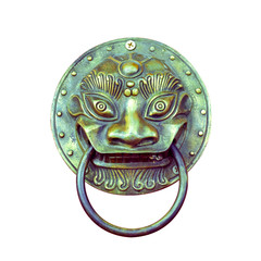 Traditional Chinese Door knocker on white