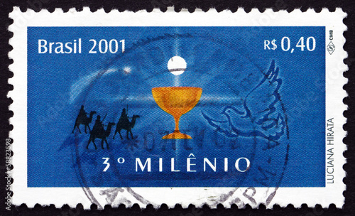 Postage stamp Brazil 2000 Chalice and Eucharist