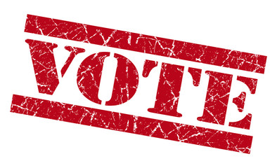 Vote red grunge damaged square stamp
