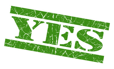 Yes green grunge square rubber stamp