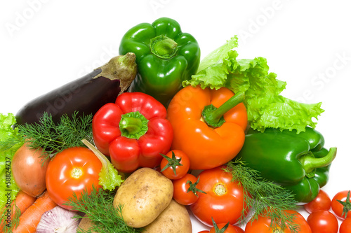 ripe fresh vegetables on a white background closeup