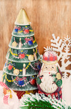 Vintage wooden Christmas tree and  Santa Claus
