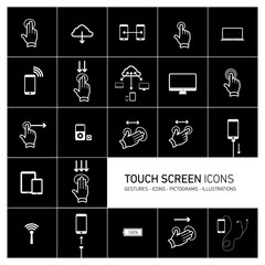 Vector icons set for multitouch devices white on black