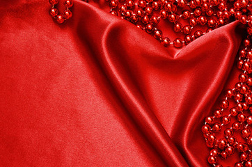 Red satin and beads