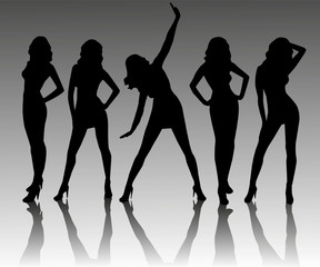 Five different silhouette of a girl .
