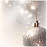 light Christmas background with light gray evening ball