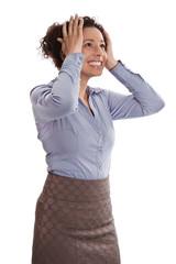Glückliche lachende junge Business Frau isoliert auf Weiß