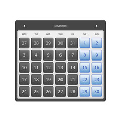 calendar November 2014