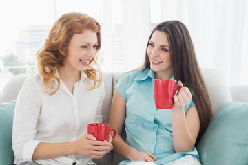 Friends with coffee cups conversing at home