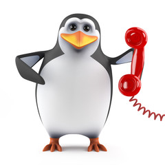 Cute penguin answers the phone