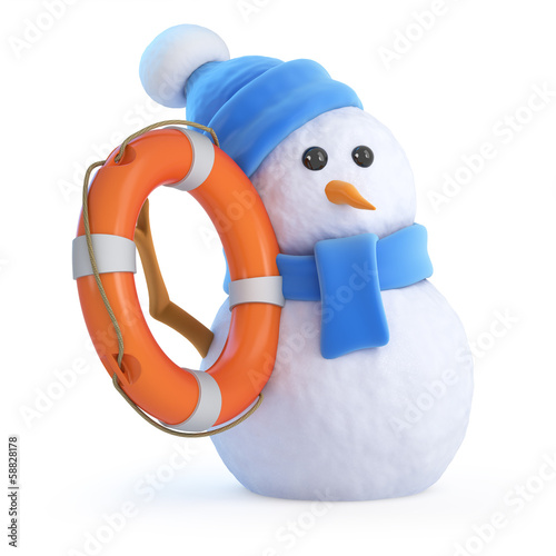 Blue snowman has a life ring