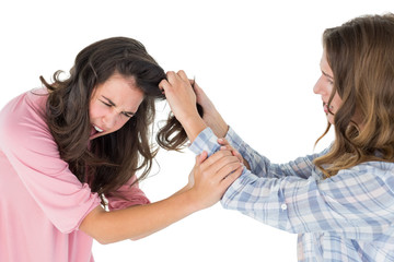 Angry young woman pulling female's hair in a fight