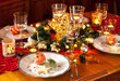 canvas print picture - Christmas eve dinner party table setting with decorations