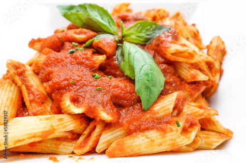 Italian meat sauce pasta on the table