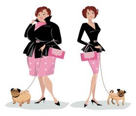 Dieting lady walkig dog