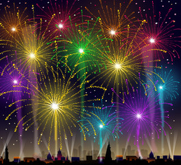 Fireworks On Cityscape-Vector
