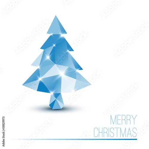 Vector card with abstract blue christmas tree