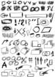 Doodle, Set hand drawn shapes, line, circle, square