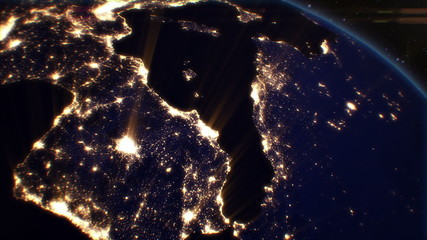 Night Cities from the Satellite. Europe. NASA Photo. HD 1080.