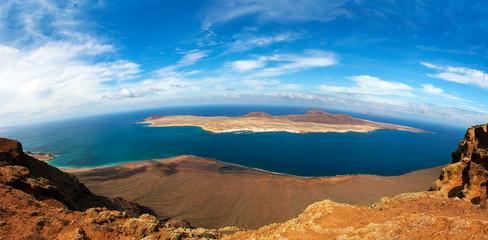 panorama of La Graciosa  - volcanic island, Canary