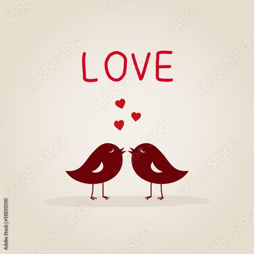 sweet love birds with heart
