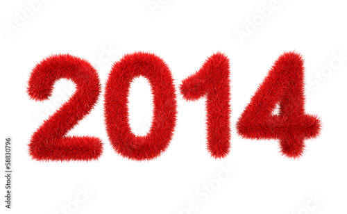 canvas print picture new year 2014 3d furry logo