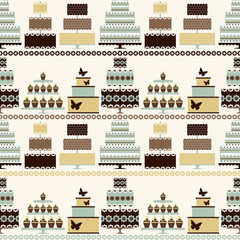 Seamless pattern with decorative cakes in retro colors.