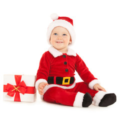 Cute santa baby on the white background