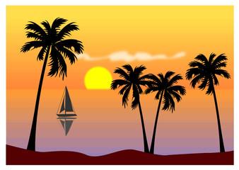 Tramonto sul mare - isola tropicale esotica