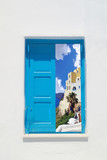 Fototapeta Traditional greek window on Sifnos island, Greece