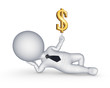 3d small person with sign of dollar.