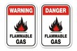 warning and danger flammable gas signs