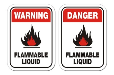 warning and danger flammable liquid signs