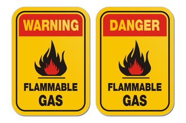warning and danger flammable gas yellow signs