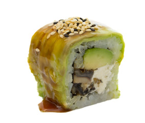 Sushi roll with avocado isolated on white background
