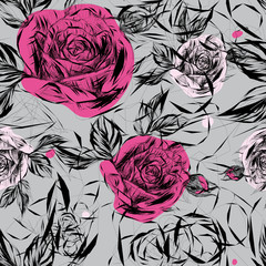 Seamless pattern with pink roses / Japanese floral