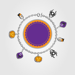 Vector doodle with charm halloween bracelet